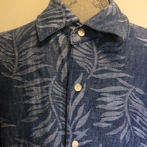 Tasso Elba Silk Linen Blend SS Shirt - Men's XL